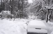 image of icy road  - February 2010 record blizzard in the Washington DC area - JPG