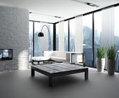 picture of household  - A 3D rendering of modern living room interior - JPG