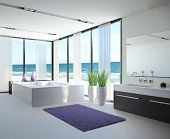 picture of household  - A 3D rendering of light bathroom interior with jacuzzi - JPG