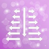 stock photo of divergent  - diverging arrows on violet background with shining balls - JPG