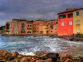 Old houses in Saint Tropez at C�?�´te d'Azur in France