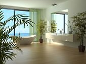 A 3D rendering of modern bathroom interior