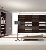 A 3D rendering of modern wardrobe