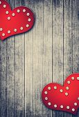 Grunge Valentine Background With Two Hearts