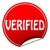 Verified Round Red Sticker On White Background
