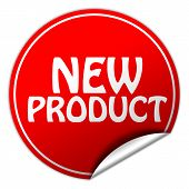 New Product Round Red Sticker On White Background