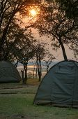 Camping in South Luangwa National Park in dusk, Zambia, Africa