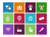 Networking icons on color background.