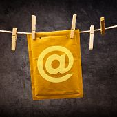 Mail Envelope With Monkey Sign On Clothes Rope