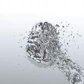 3D Liquid Metal Splash On Brain As Concept