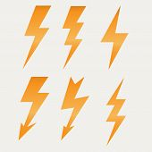 stock photo of voltage  - Lightning icon flat design long shadows vector illustration - JPG
