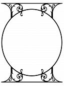 foto of scrollwork  - Black and white pen and ink oval scrollwork column with copy space for an invitation or announcement see gallery for more options - JPG