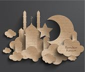 stock photo of hari  - Vector 3D Muslim Cardboard Graphics - JPG