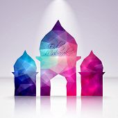 Vector Polygonal Crystal Mosque. Translation: Eid Mubarak - Blessed Feast