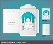 Vector Muslim Ramadan Mosque Element Money Green Packet Design. Translation: Eid Mubarak - Blessed F