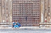 unidentified people sleeping in Naples, Italy