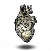foto of time machine  - Human heart gears and time spiral - JPG
