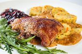 stock photo of roast duck  - Duck in vegetable and wine sauce - JPG