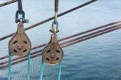 Marine Rope Ladder At Sailboat.