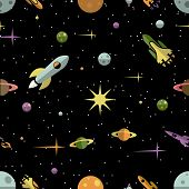 Seamless pattern with planets  rockets and stars