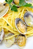 Spaghetti Pasta And Seafood  Clams