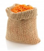lentil in sack bag on white background
