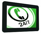 Twenty Four Seven Tablet Shows Open 24/7