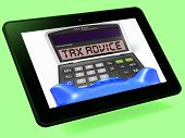Tax Advice Calculator Tablet Shows Assistance With Taxes
