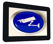 Camera Tablet Shows Cctv And Web Security