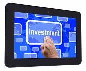 Investment Tablet Touch Screen Shows Lending Money