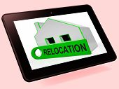 Relocation House Tablet Shows Move And Live Elsewhere