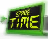 Spare Time Digital Clock Means Leisure Or Relaxation