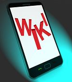 Wiki On Mobile Shows Online Information Knowledge Or Encyclopaed