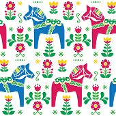 picture of wooden horse  - Traditional background blue horses with flowers pattern isolated on white - JPG