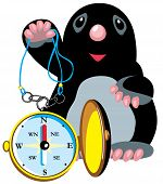 cartoon mole holding compass