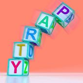 Party Letters Mean Celebration Event Or Socializing