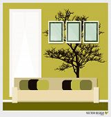 Three empty frames on a wall and Decorative Wall Stickers For Your House's Interiors. Vector illustration.