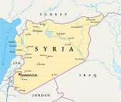stock photo of euphrates river  - Political map of Syria with capital Damascus - JPG