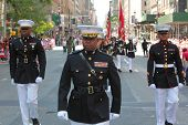 US Marines in dress blues on Fifth Avenue