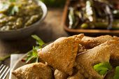 picture of samosa  - Homemade Fried Indian Samosas with Mint Chutney Sauce - JPG