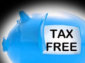 Tax Free Piggy Bank Message Means No Taxation Zone