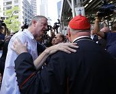 Mayor Bill de Blasio greets Archbishop Dolan