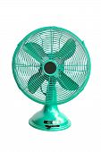 Vintage Green Electric Fan On White Background