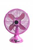 Vintage Pink Electric Fan On White Background
