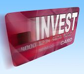 Invest On Credit Debit Card Flying Shows Investing Money