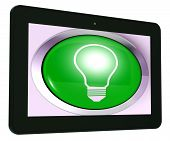 Light Bulb Tablet Means Bright Idea Innovation Or Invention