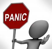 Panic Red Stop Sign Shows Stopping Anxiety Panicking