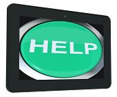 Help Tablet Shows Aid Assistance Or Answers