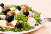 Greek Salad, Gigantic Black Olives, Sheeps Cheese