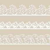 Set of white lace vector borders